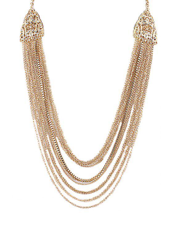 Mit mehreren Schichten Muster Quasten-Anhänger-Halskette - Golden