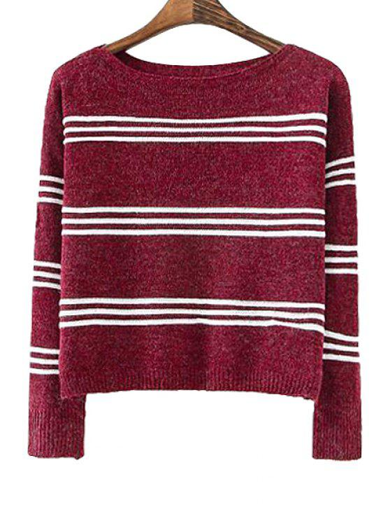 women Striped Long Sleeve Sweater - RED ONE SIZE(FIT SIZE XS TO M)