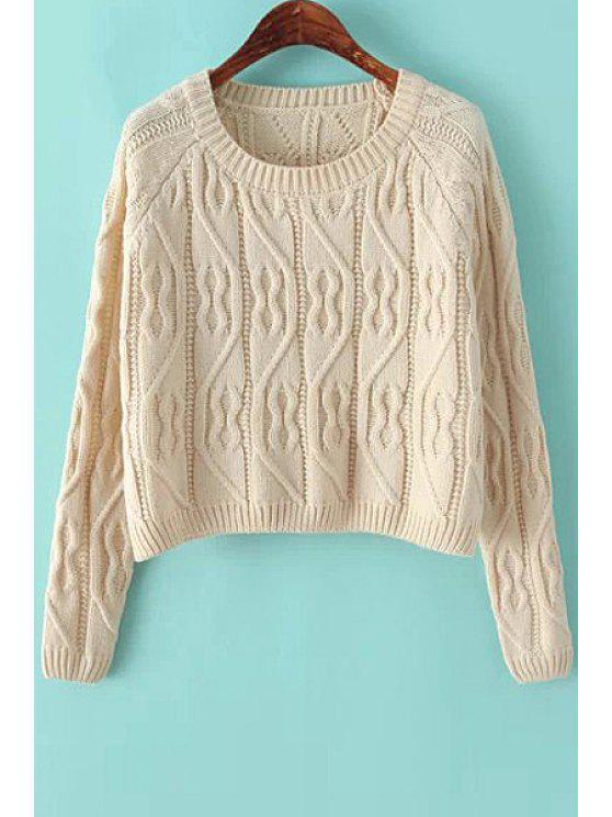 online Scoop Collar Solid Color Sweater - WHITE ONE SIZE(FIT SIZE XS TO M)