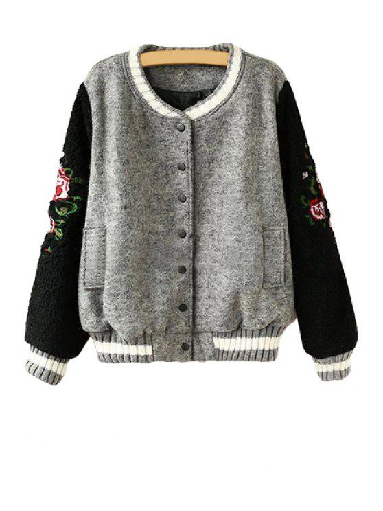 trendy Embroidery Lamb Wool Splicing Jacket - BLACK ONE SIZE(FIT SIZE XS TO M)
