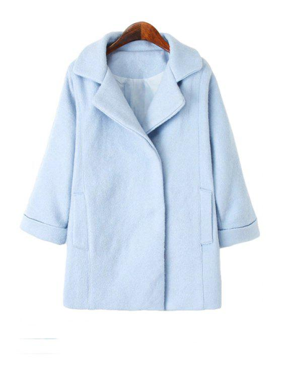 affordable Solid Color Lapel Worsted Coat - AZURE S