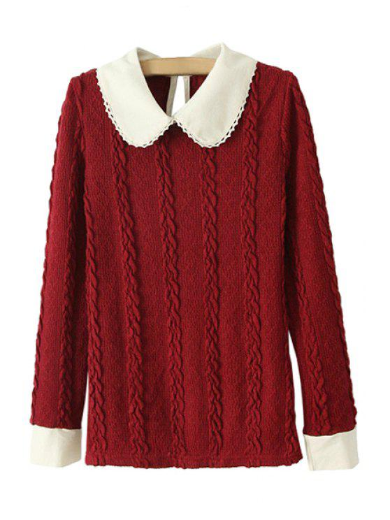 shops Color Block Peter Pan Collar Sweater - RED ONE SIZE(FIT SIZE XS TO M)
