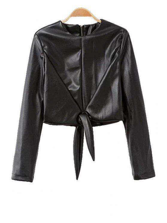 new PU Leather Round Collar Zipper Jacket - BLACK S