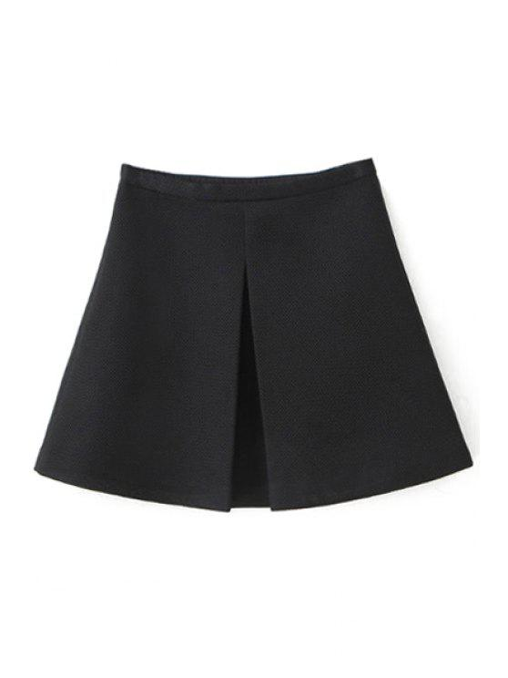 unique Solid Color High Waisted A-Line Skirt - BLACK S