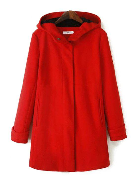 best Solid Color Hooded Worsted Coat - RED S