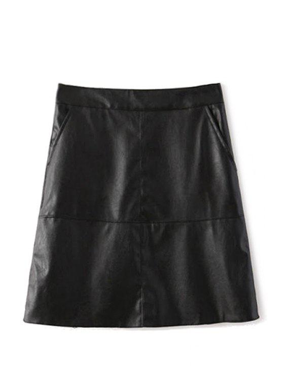 online Black PU Leather A-Line Skirt - BLACK S