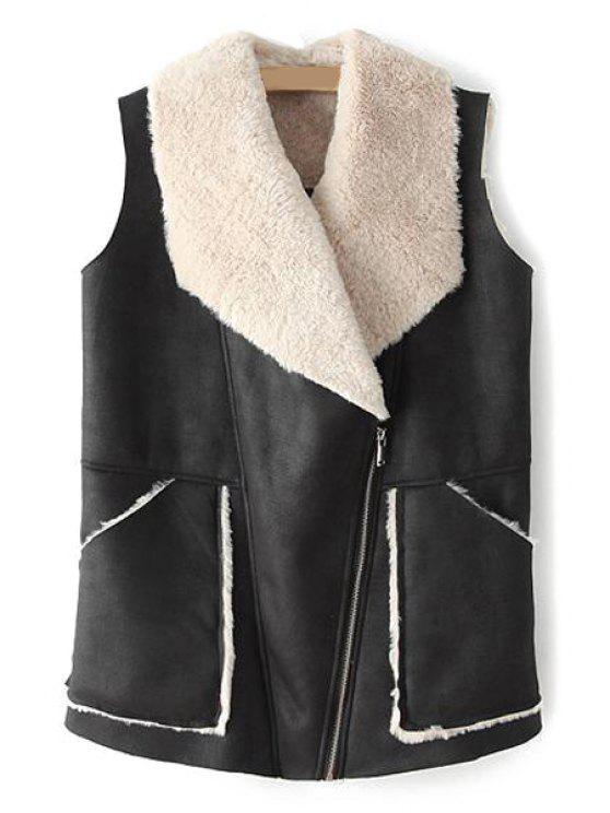lady Faux Fur and PU Leather Waistcoat - BLACK S