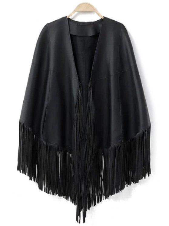 women PU Leather Fringe Cape Coat - BLACK ONE SIZE(FIT SIZE XS TO M)