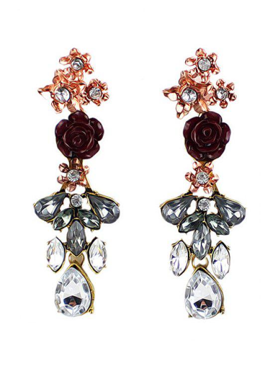 fancy Pair of Rhinestone Decorated Flower Pendant Earrings - AS THE PICTURE