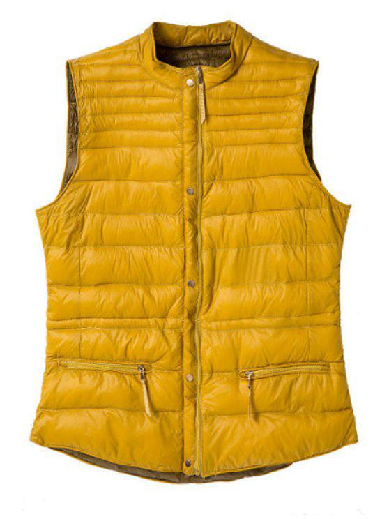 hot Stand Collar Solid Color Waistcoat - YELLOW S