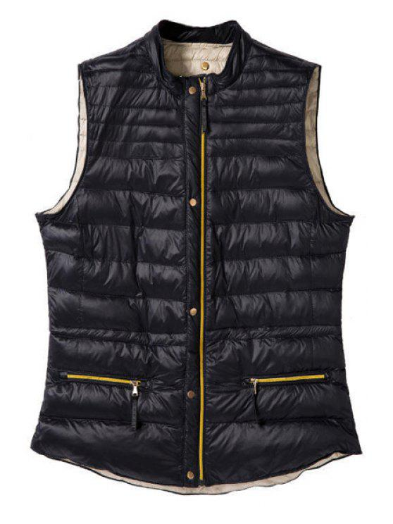 shop Stand Collar Solid Color Waistcoat - BLACK S