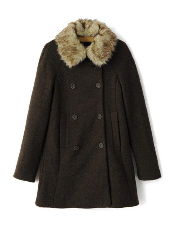 ladies Faux Fur Collar Double-Breasted Coat - BLACKISH GREEN S