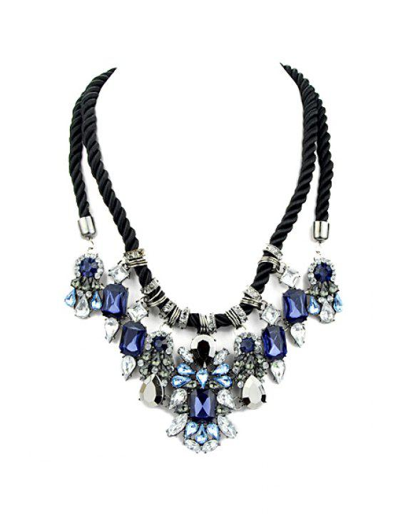 sale Faux Gem Decorated Pendant Layered Rope Necklace - BLUE