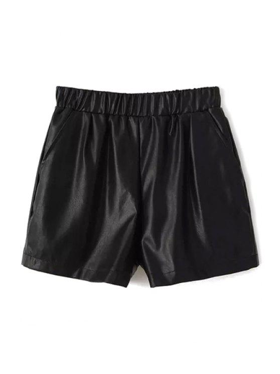 fancy Black PU Leather Shorts - BLACK S