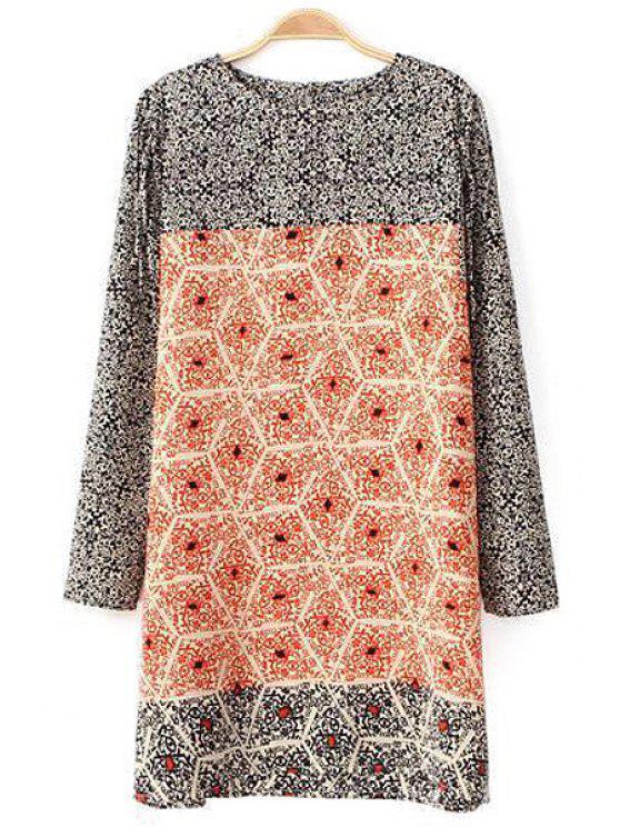 lady Floral Print Color Block Dress - COLORMIX S