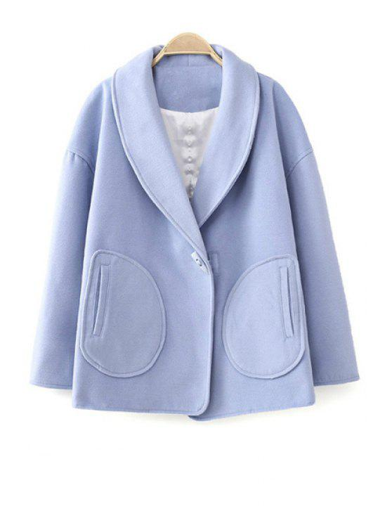 trendy Turn-Down Collar Solid Color Coat - BLUE L