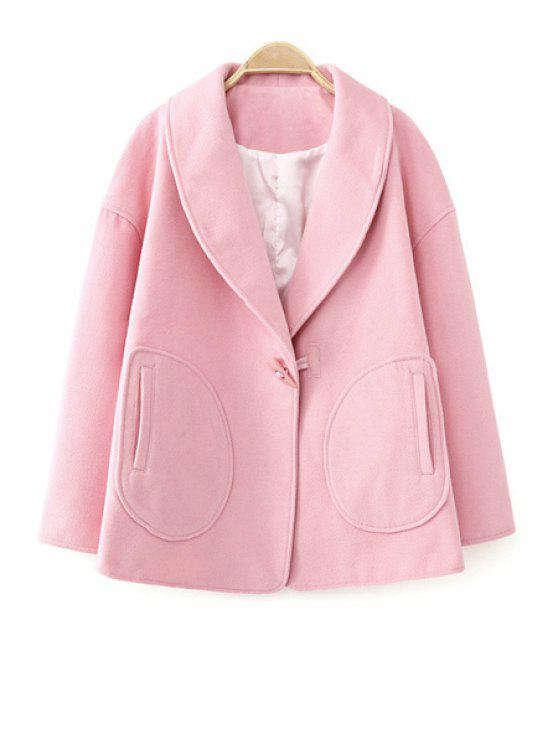 fancy Turn-Down Collar Solid Color Coat - PINK L