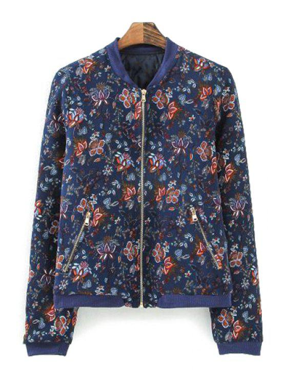 latest Full Floral Print Stand Collar Jacket - COLORMIX S