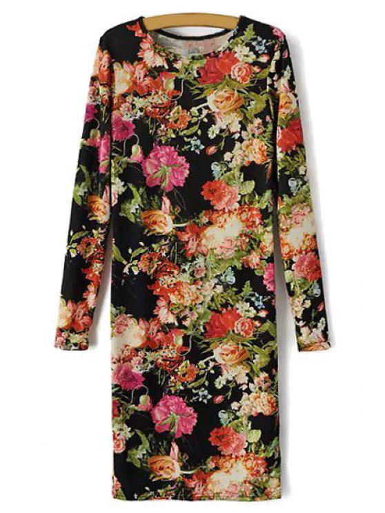 new Long Sleeve Floral Print Dress - COLORMIX S