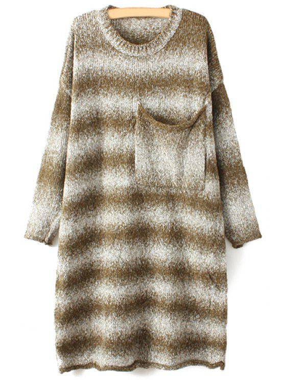 buy Striped Long Sleeve Pockets Sweater Dress - COFFEE ONE SIZE(FIT SIZE XS TO M)