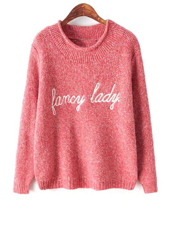 women Letter Embroidery Long Sleeve Sweater - RED ONE SIZE(FIT SIZE XS TO M)