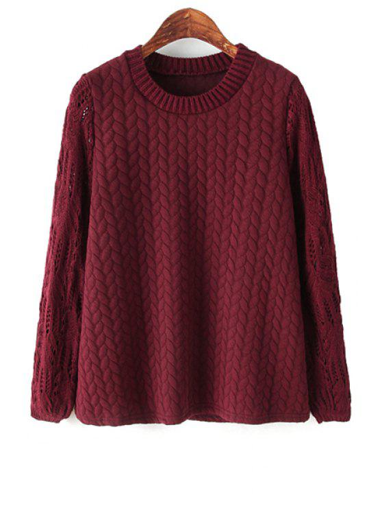 ladies Cable-Knit Splicing Long Sleeve Sweater - CLARET ONE SIZE(FIT SIZE XS TO M)