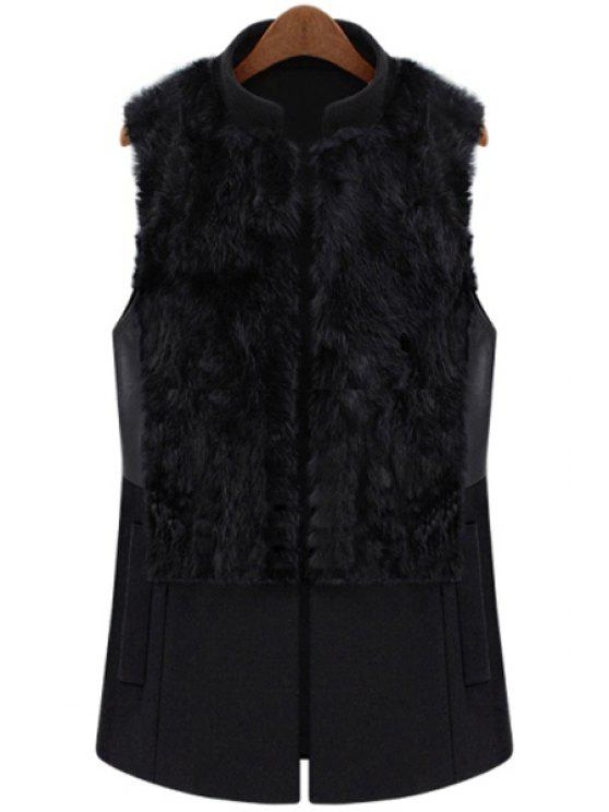 outfit Faux Fur Splicing Waistcoat - BLACK L