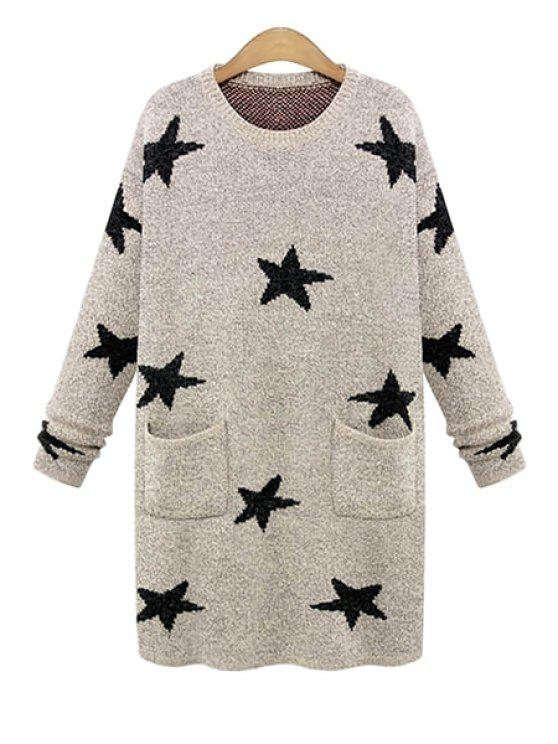 sale Long Sleeve Star Pattern Sweater - KHAKI ONE SIZE(FIT SIZE XS TO M)