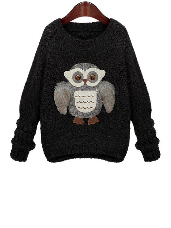 buy Owl Pattern Long Sleeve Sweater - BLACK ONE SIZE(FIT SIZE XS TO M)