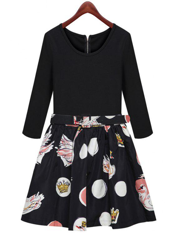 womens Print Splicing Long Sleeve Dress - BLACK S