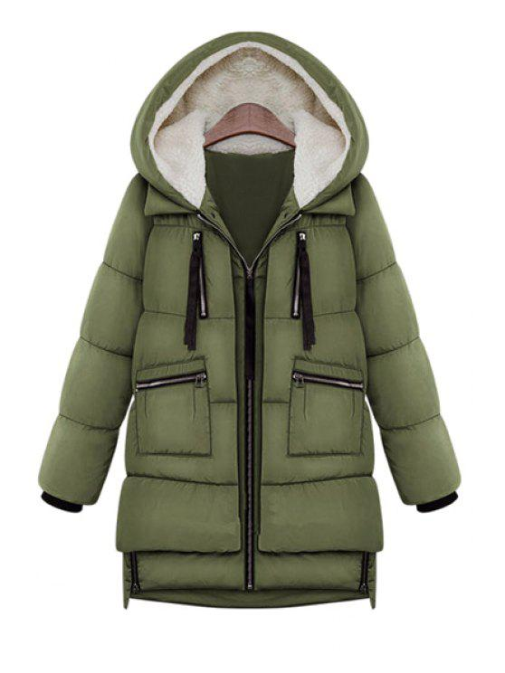 new Hooded Solid Color Zipper Coat - ARMY GREEN 2XL
