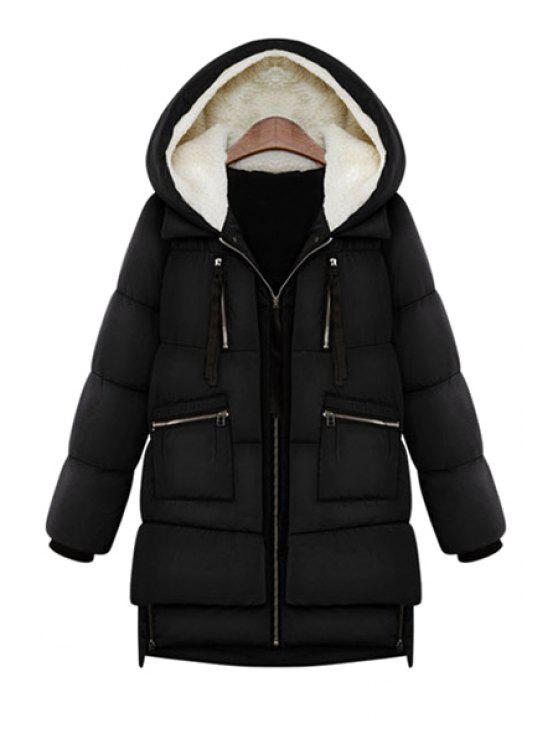 outfits Hooded Solid Color Zipper Coat - BLACK XL