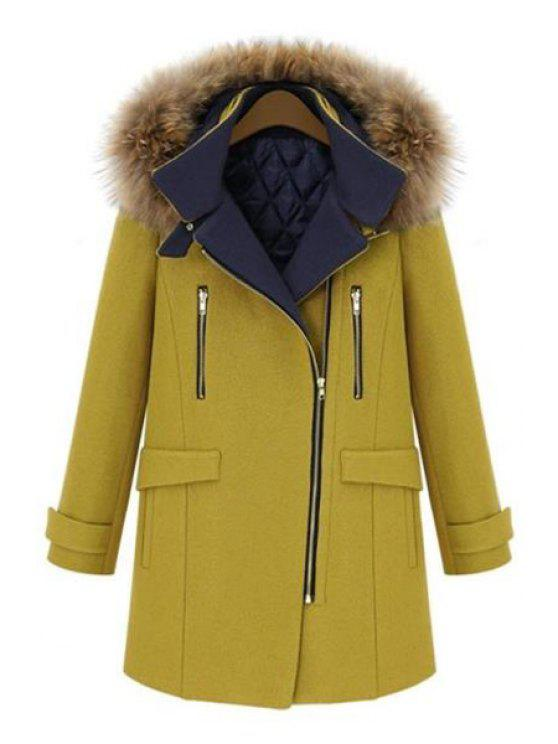 best Faux Fur Hooded Solid Color Coat - YELLOW 2XL