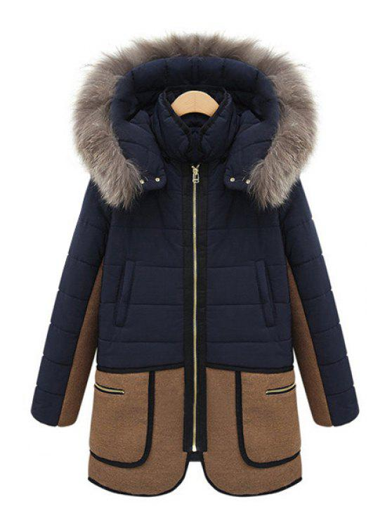 online Faux Fur Hooded Color Block Coat - BLUE XL