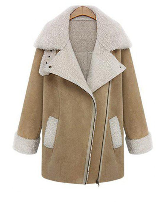 outfits Lamb Wool Splicing Zipper Lapel Coat - KHAKI S