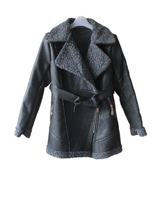 trendy Lamb Wool Splicing PU Leather Coat - DEEP GRAY L