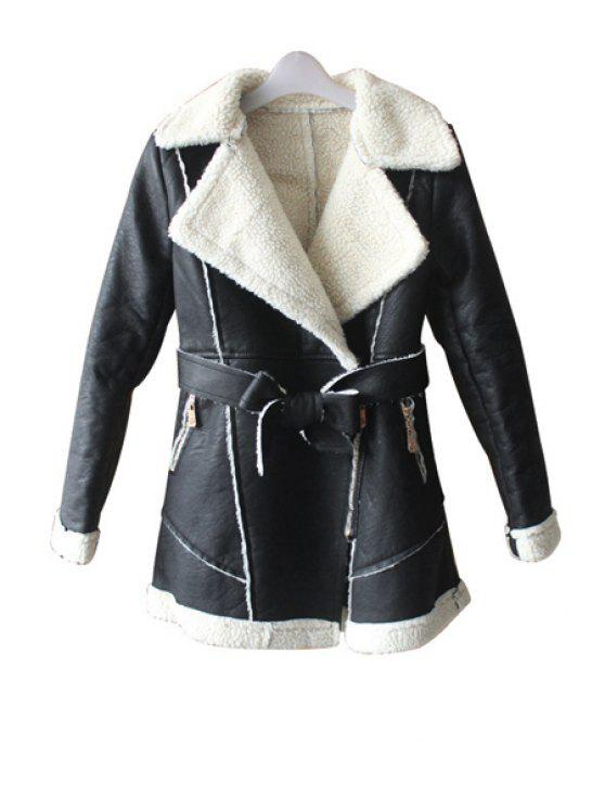 chic Lamb Wool Splicing PU Leather Coat - APRICOT L