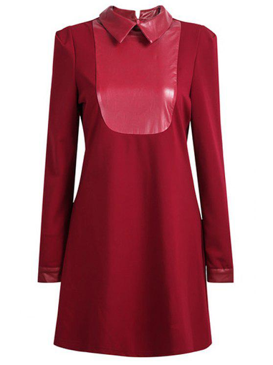 trendy Red Faux Leather Splicing Dress - RED S