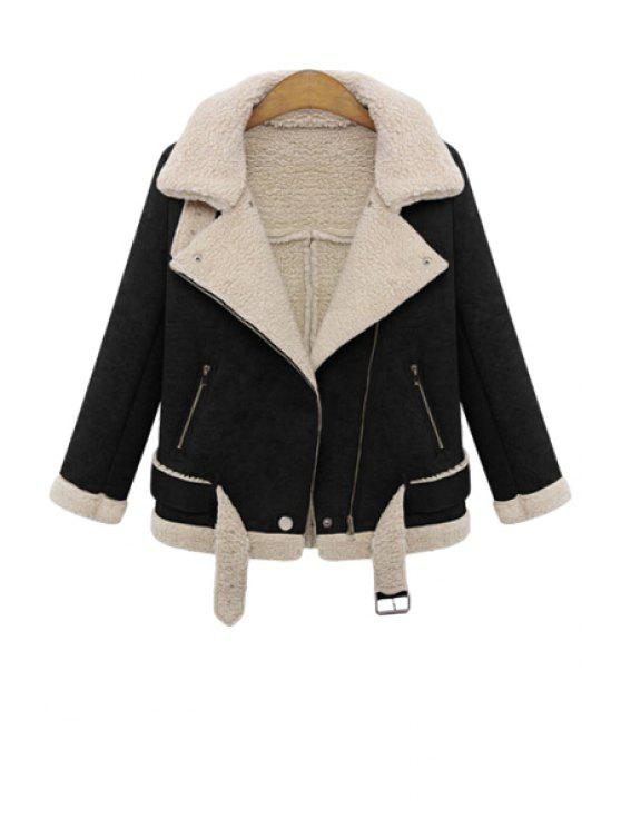 lady Lapel Lamb Wool Splicing Jacket - BLACK S