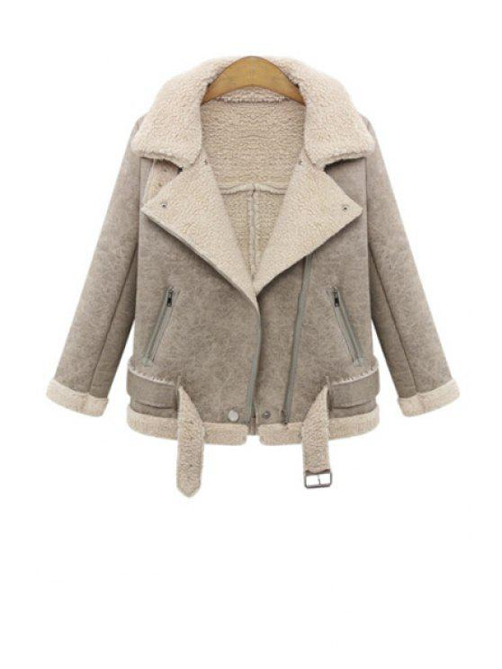 shop Lapel Lamb Wool Splicing Jacket - KHAKI XL