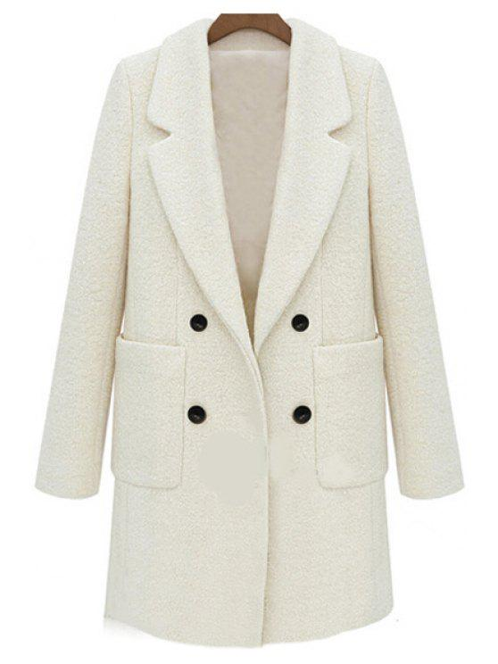 buy Double-Breasted Solid Color Coat - OFF-WHITE XL