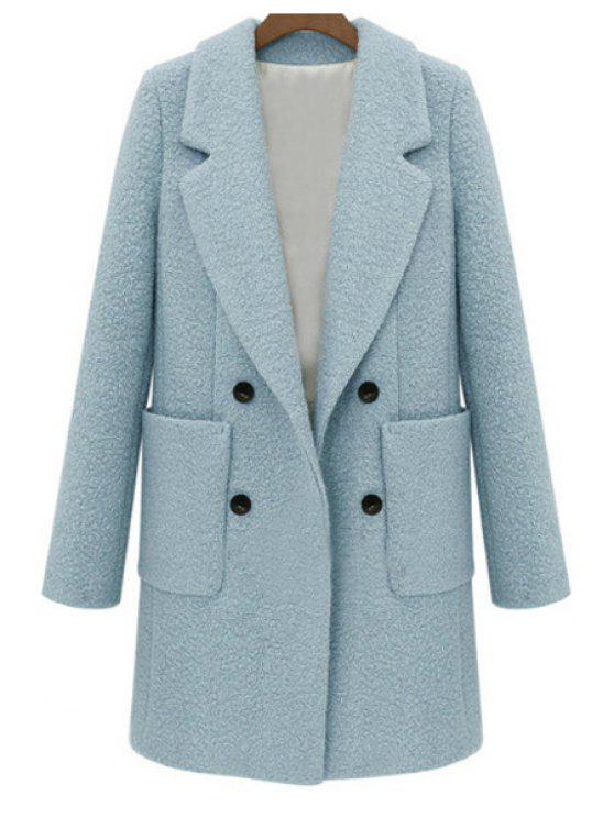 women's Double-Breasted Solid Color Coat - LIGHT BLUE L
