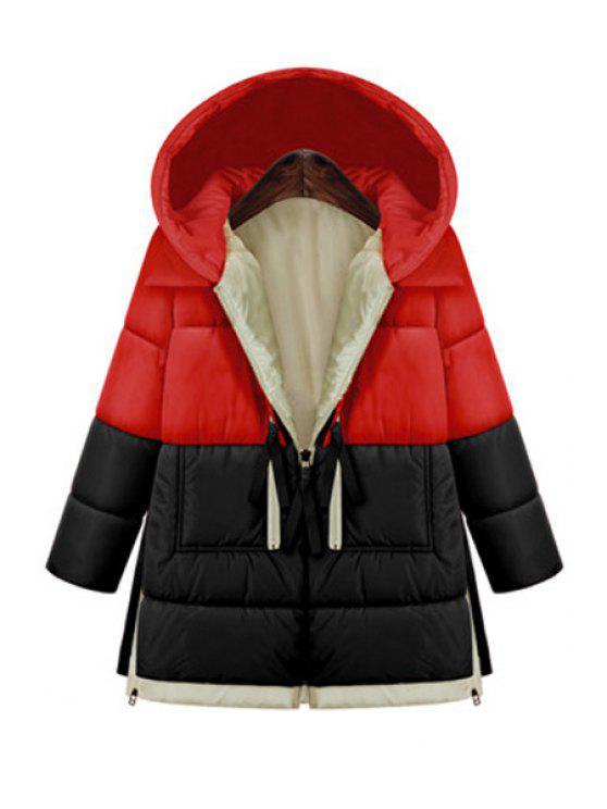 lady Hooded Color Block Zipper Coat - RED L