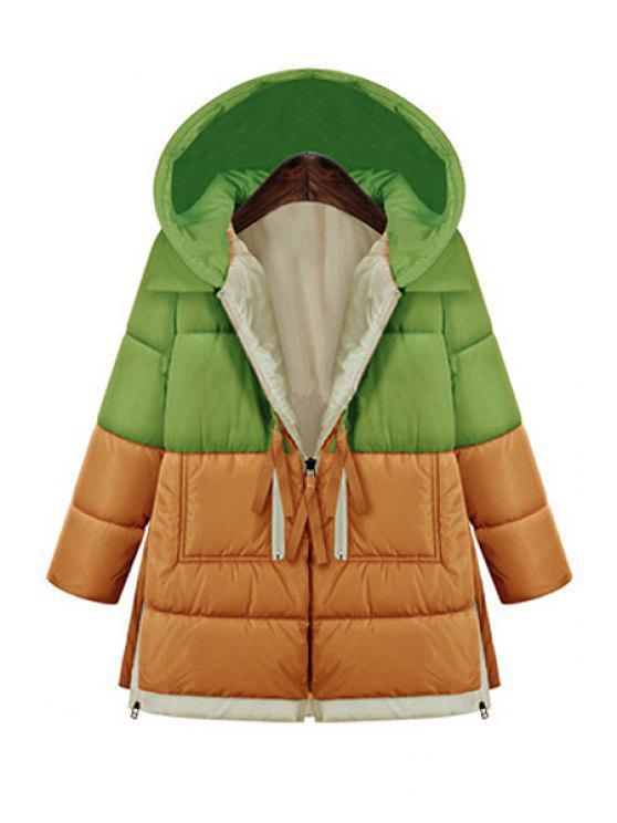 outfit Hooded Color Block Zipper Coat - GREEN XL