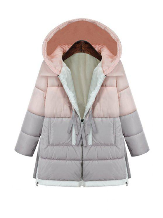 fashion Hooded Color Block Zipper Coat - PINK 3XL