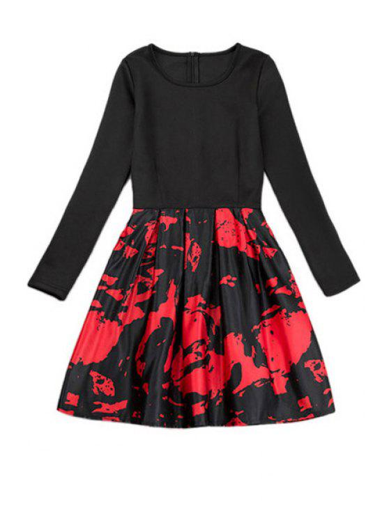 unique Print Splicing A-Line Dress - RED WITH BLACK S