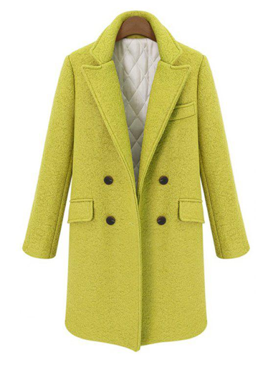 affordable Double-Breasted Lapel Worsted Coat - YELLOW S