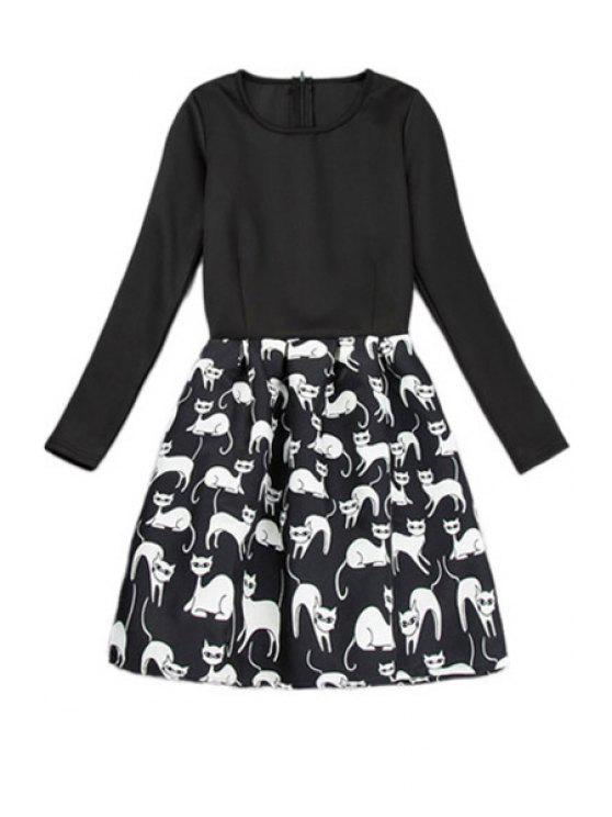 shop Kitten Print Long Sleeve Dress - BLACK S
