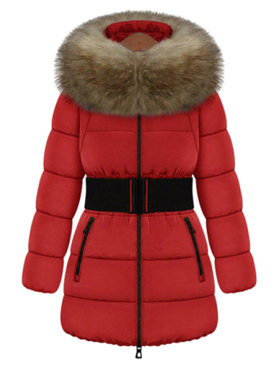 women's Faux Fur Collar Solid Color Belt Coat - RED M