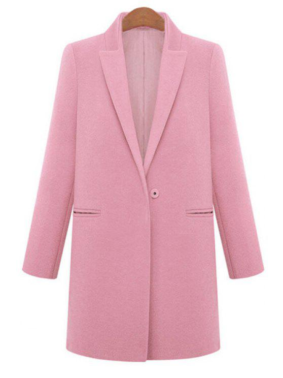 outfits Long Sleeve Solid Color Worsted Coat - PINK S